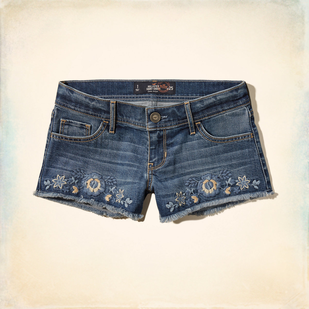 Embroidered Low Rise Denim Short-Shorts