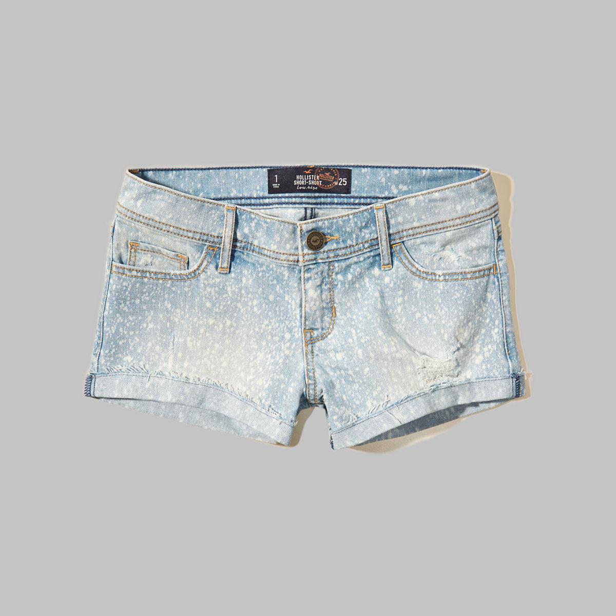 Speckled Low Rise Denim Short-Shorts