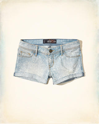 Speckled Low Rise Denim Short-Shorts