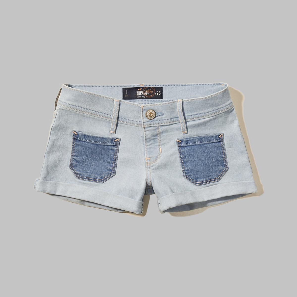 Patch Pocket Low Rise Denim Short-Shorts