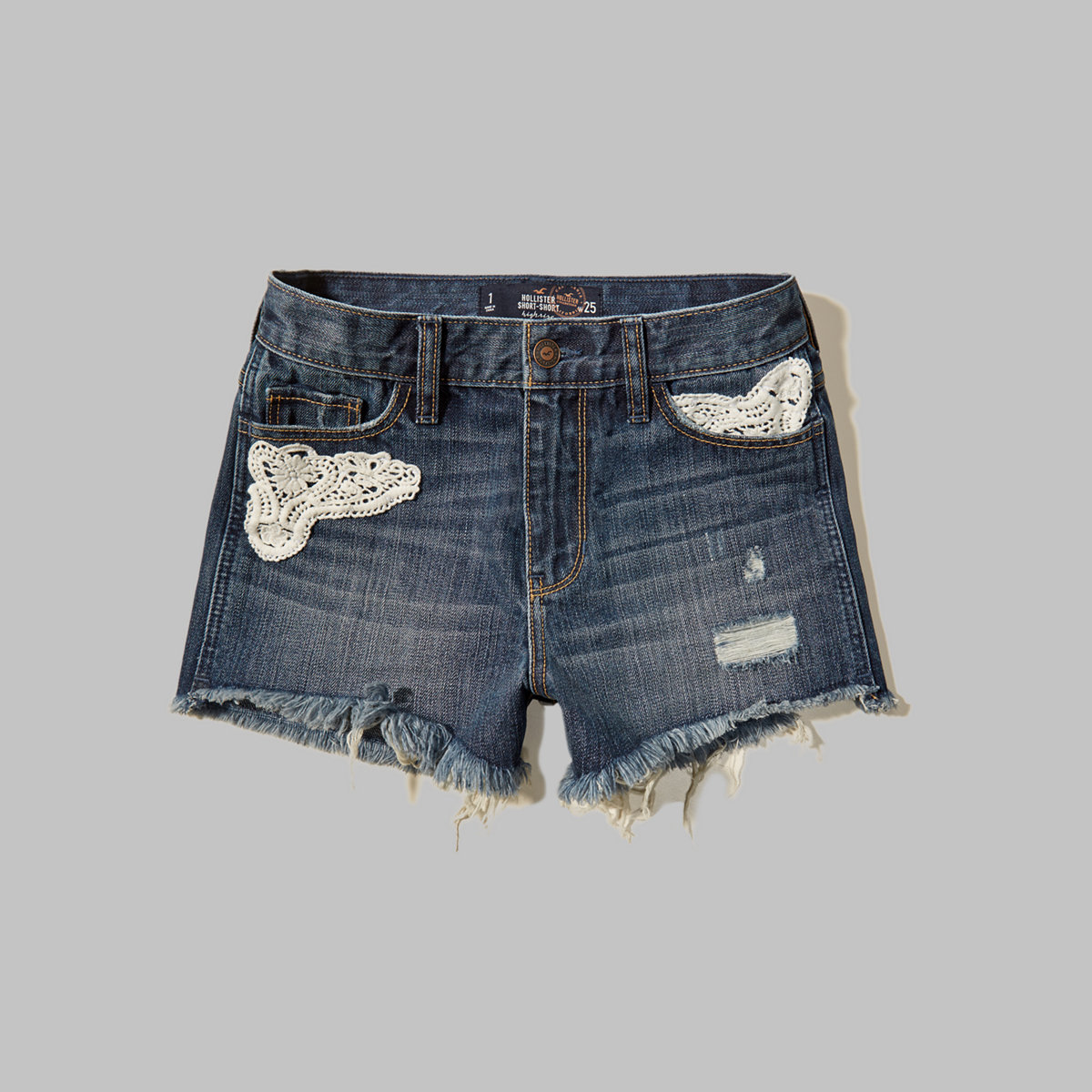 Embroidered-Patch High Rise Denim Short-Shorts