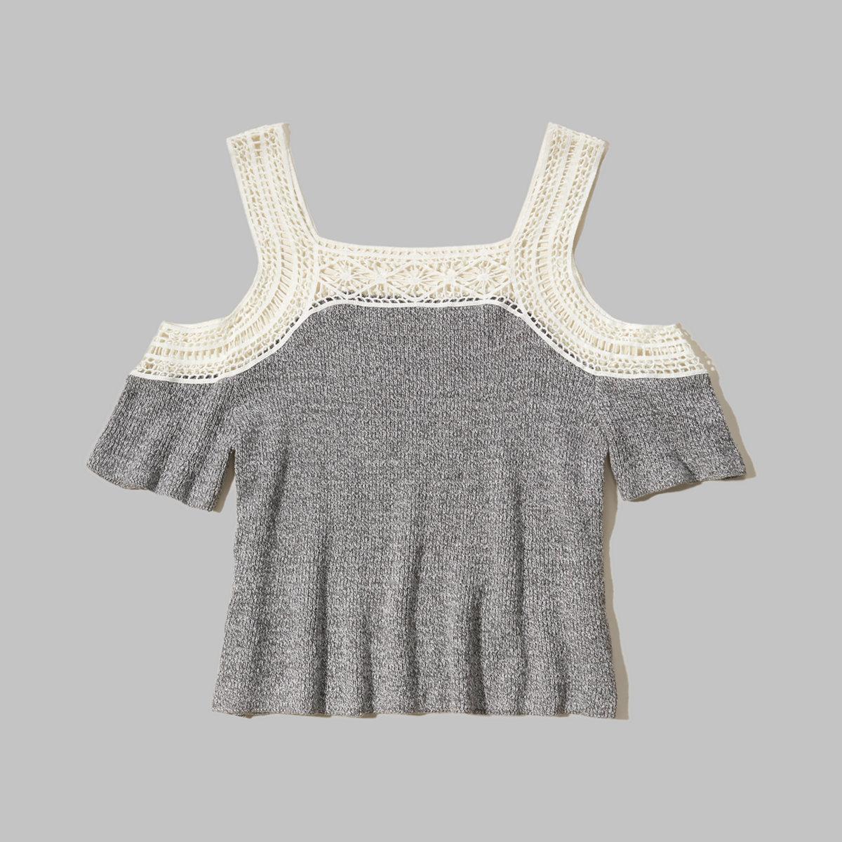 Cold Shoulder Short-Sleeve Sweater