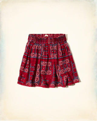 Patterned Smocked-Waist Skirt