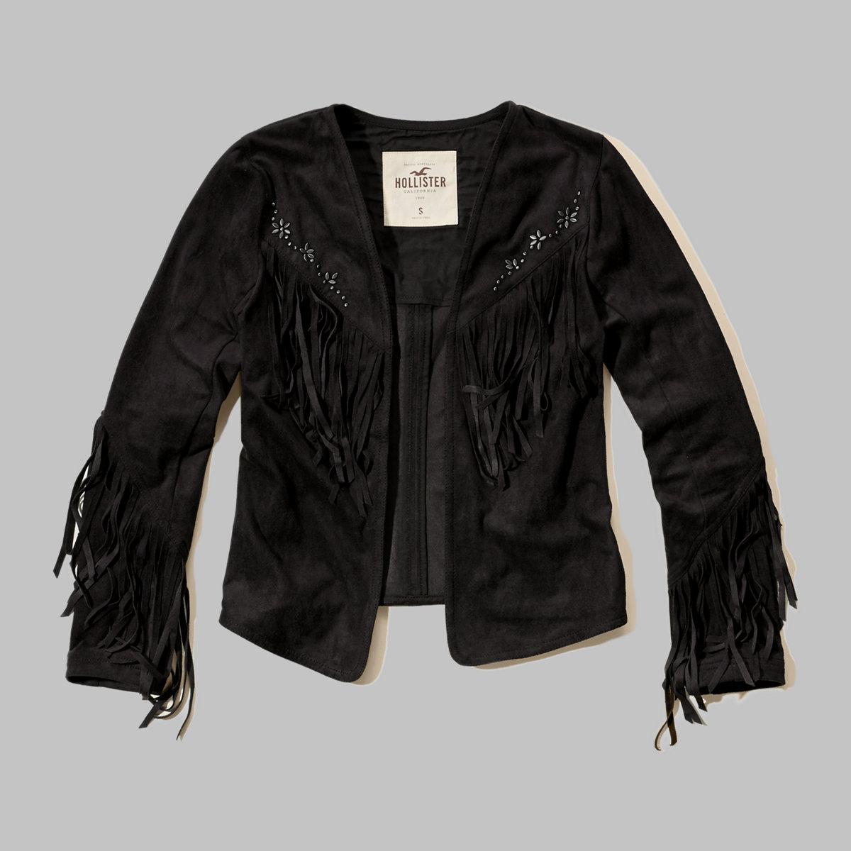 No-Close Faux Suede Jacket