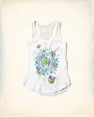 Lace Panel Graphic Tank