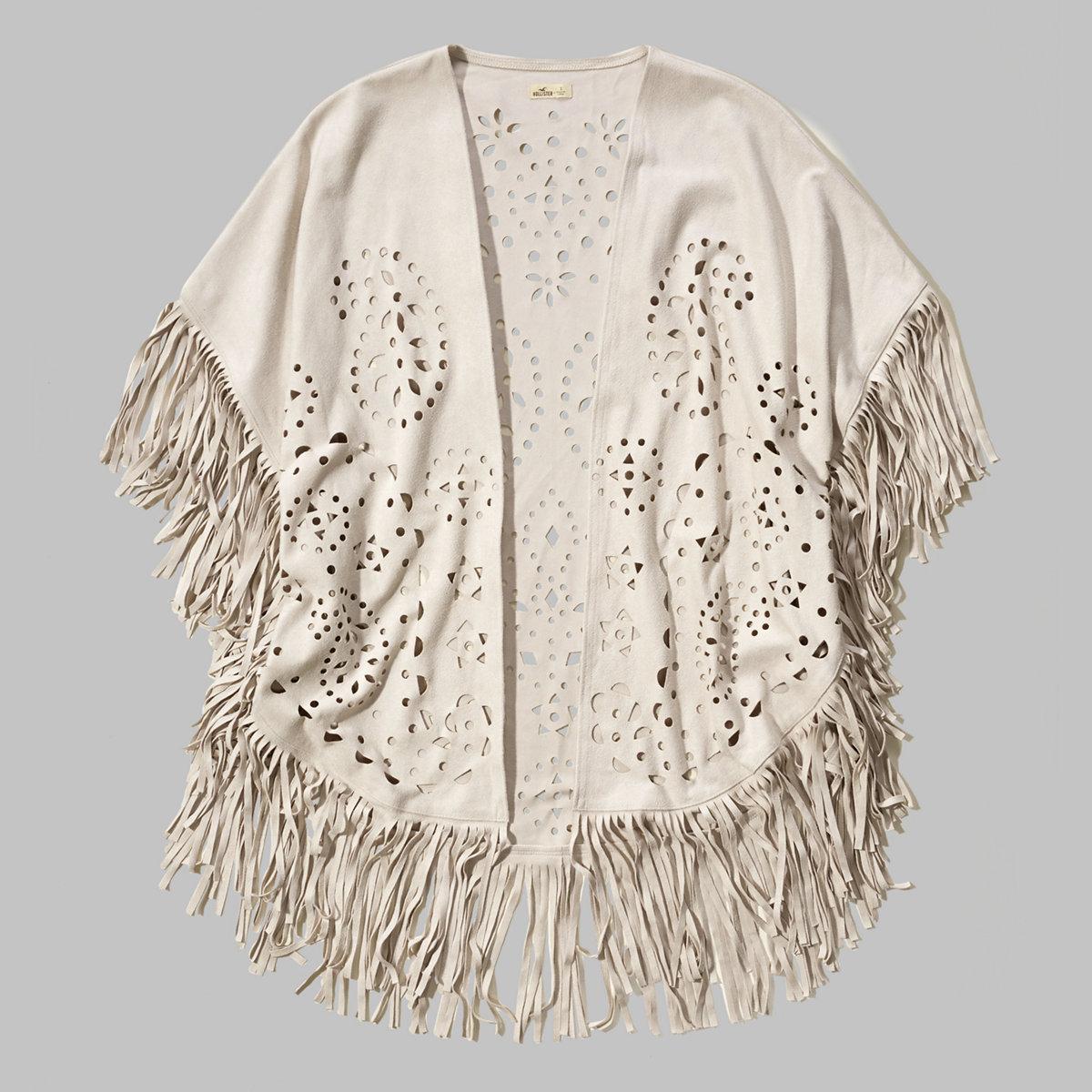 Cutwork Suede Kimono