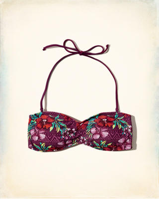 Printed Bandeau Swim Top