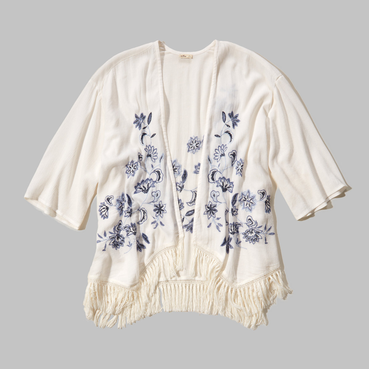 Embroidered Open Blouse