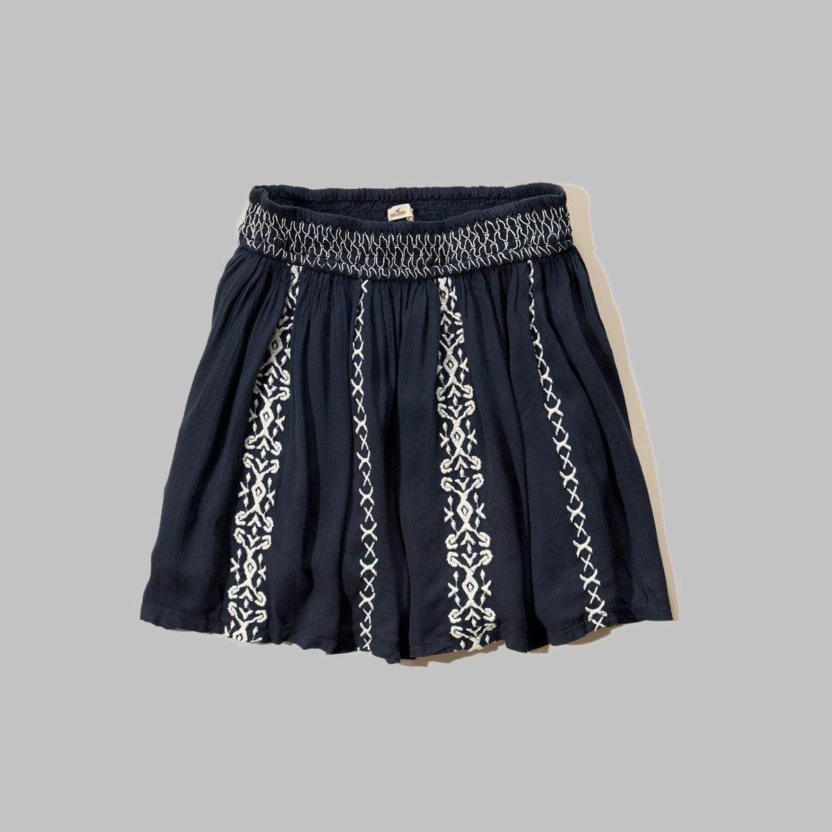 Embroidered Smocked-Waist Skirt