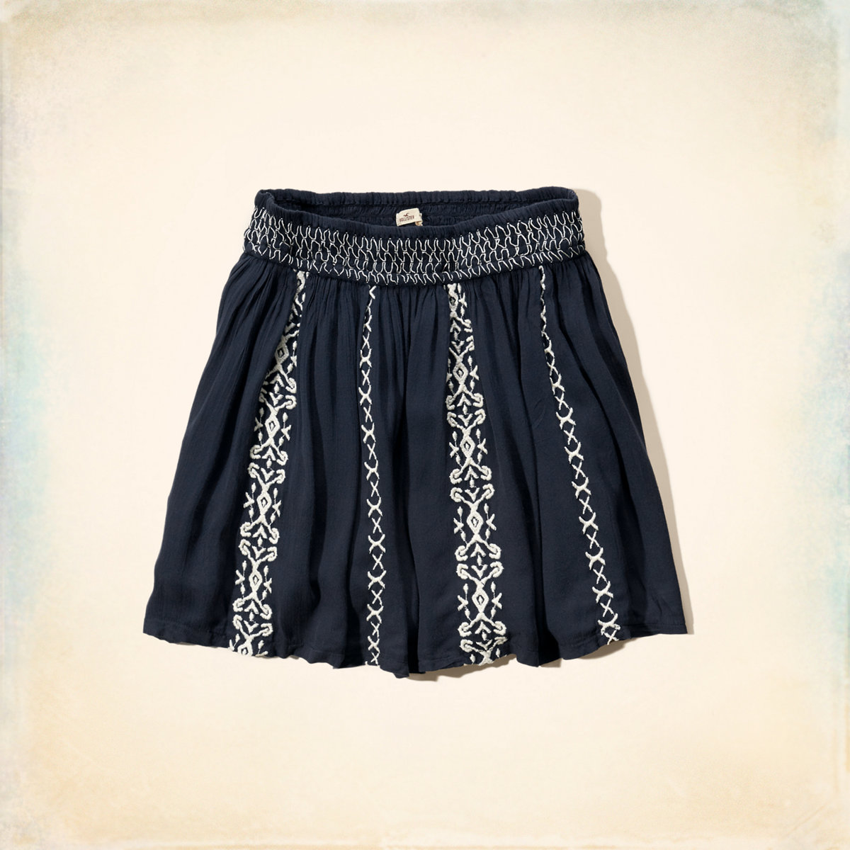 Embroidered Smocked-Waist Skirt