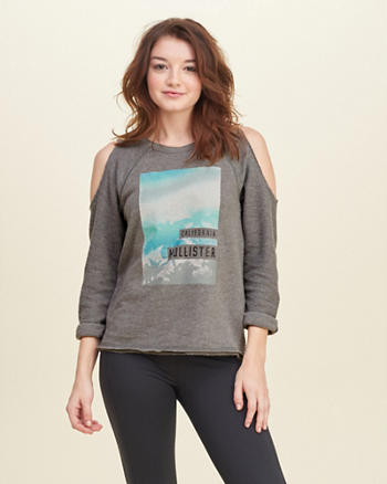 Cold Shoulder Graphic Sweatshirt