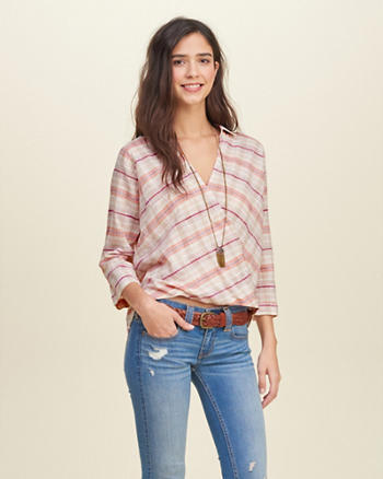 Striped Wrap Front Shirt