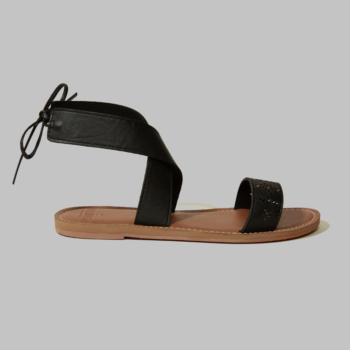 Studded Cross-Strap Sandals