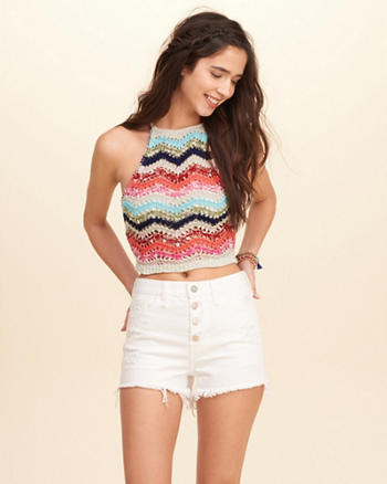 High Neck Crochet Top