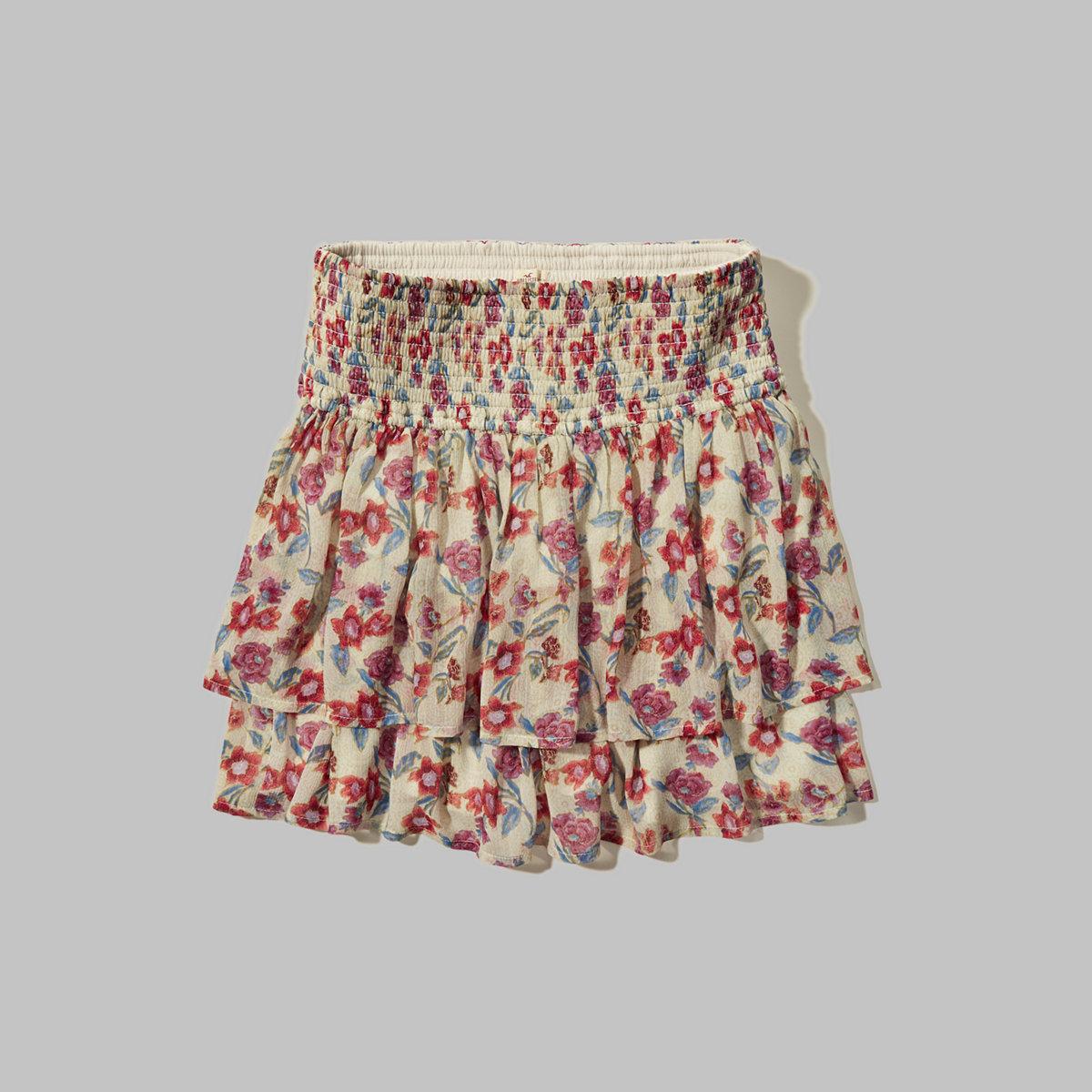 Tiered Smocked-Waist Skirt