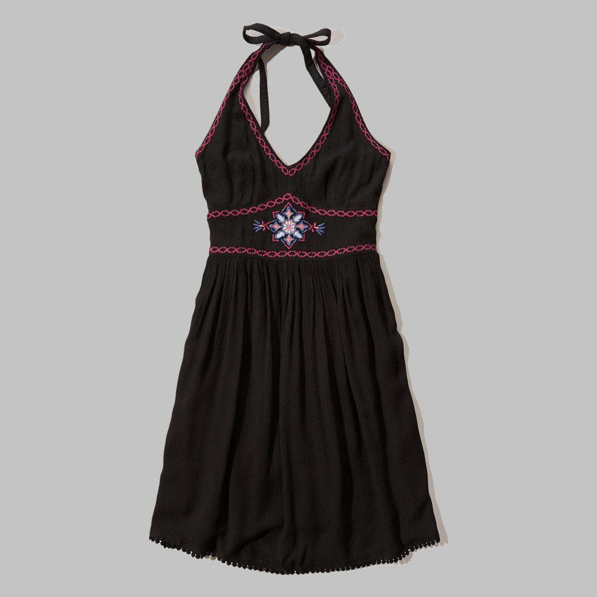 Embroidered Halter Dress