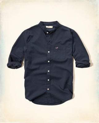 Banded Collar Nepped Oxford Shirt