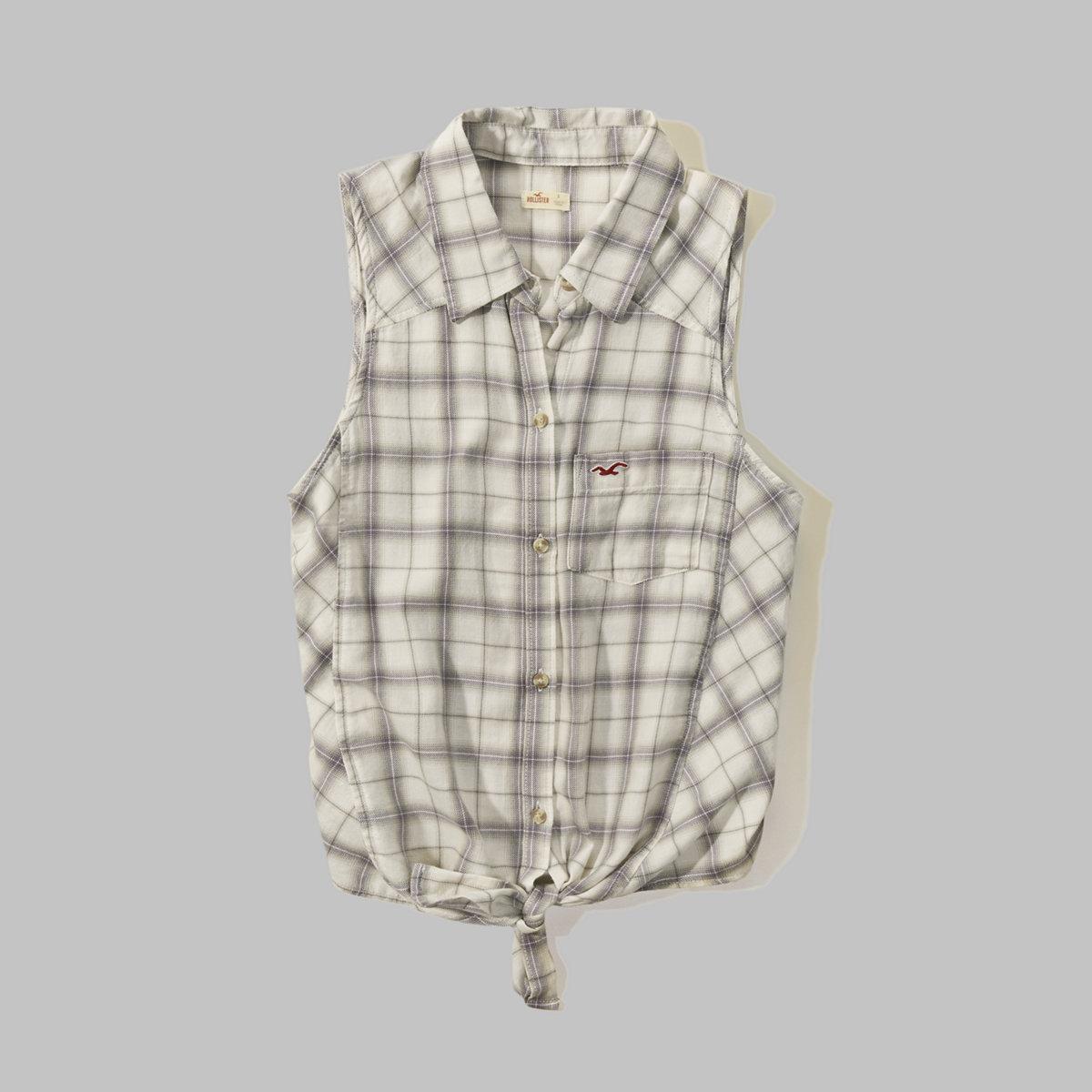 Sleeveless Plaid Shirt