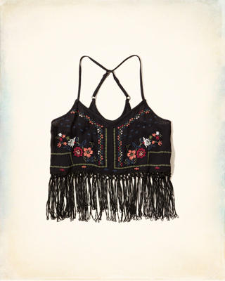Embroidered Fringe Crop Top