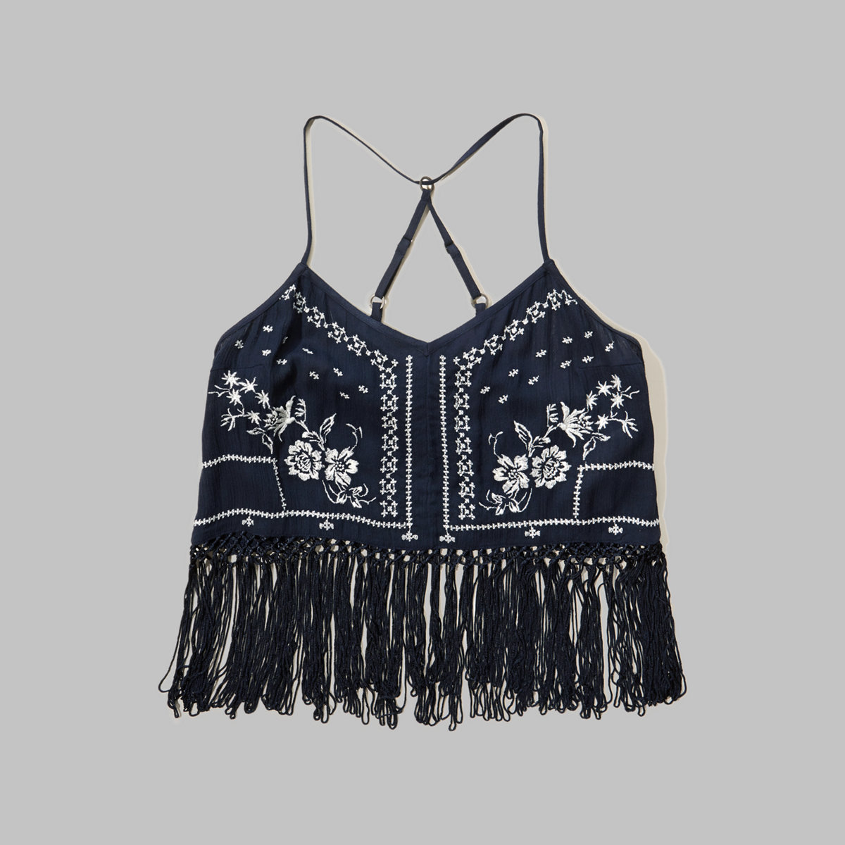 Embroidered Fringe Crop Top