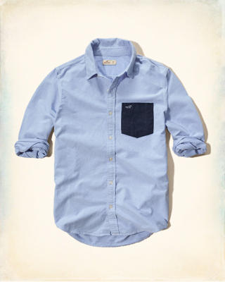 Contrast-Pocket Oxford Shirt