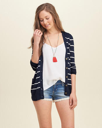 Stripe Boyfriend Cardigan