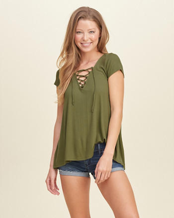 Lace-Up Easy Ribbed T-Shirt