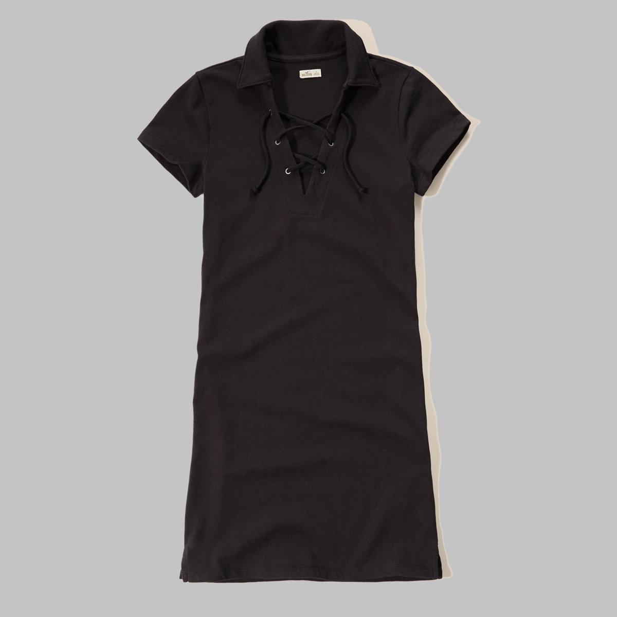 Lace-Up Polo Dress