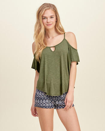 Cutout Cold Shoulder T-Shirt