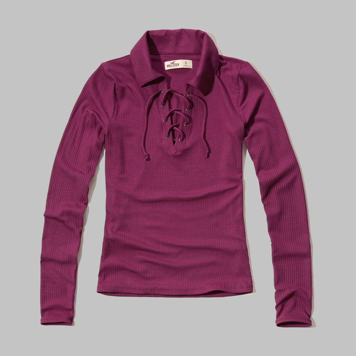 Lace-Up Ribbed Polo
