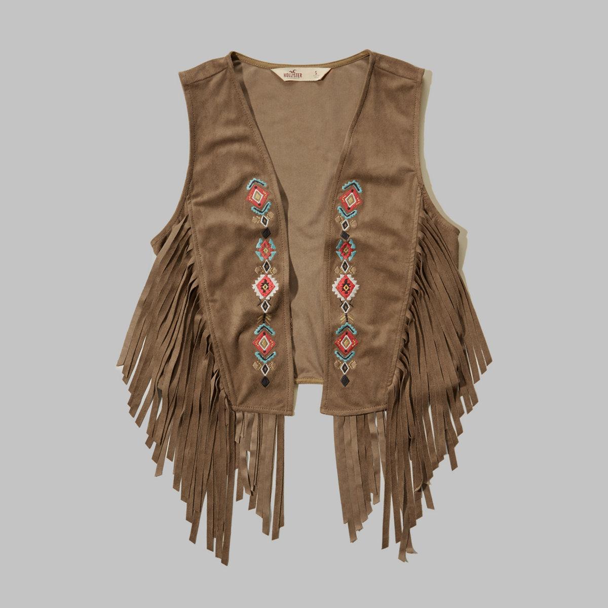 Embroidered Fringe Vest