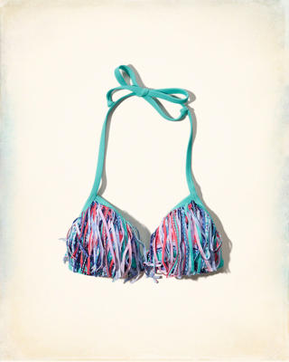 Fringe Push-Up Triangle Swim Top