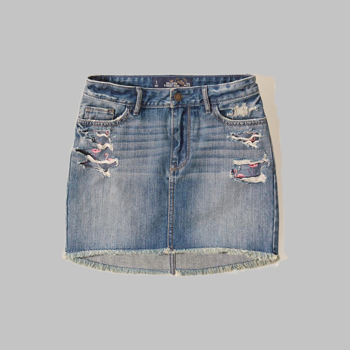 Low Rise Denim Mini Skirt
