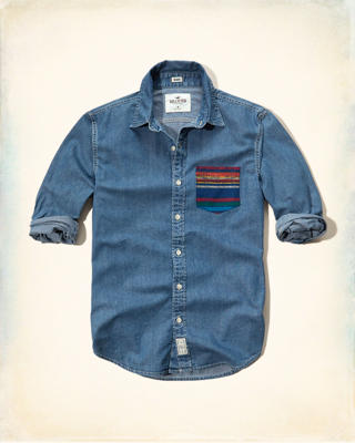 Contrast-Pocket Denim Shirt