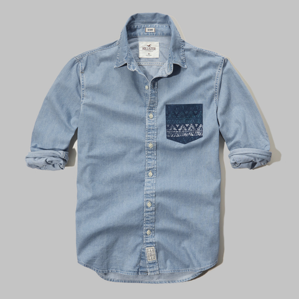 Contrast-Pocket Denim Shirt