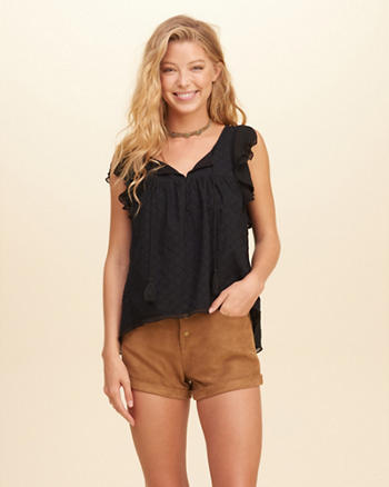 Ruffle-Sleeve Eyelet Top