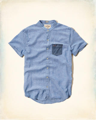 Banded Collar Cotton-Linen Shirt