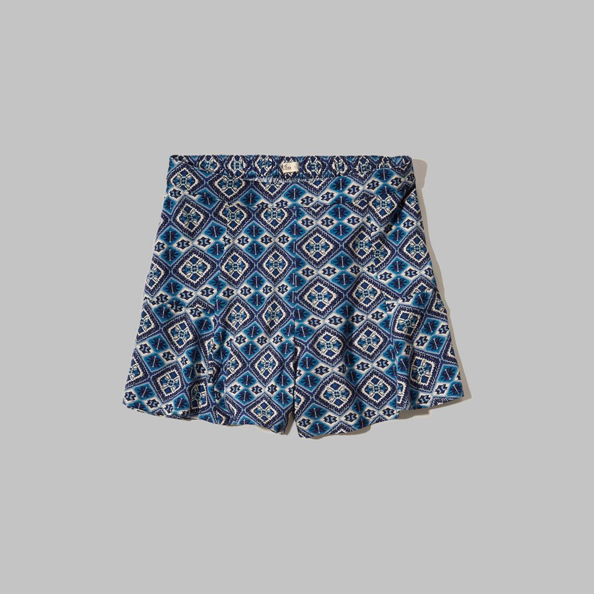 Printed High Waist Culotte Shorts
