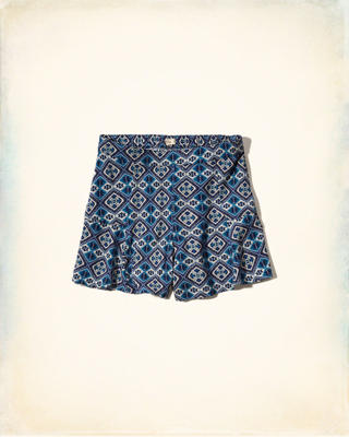 Printed High Waist Culotte Shorts