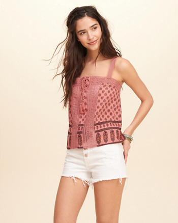 Printed Lace-Up Tank