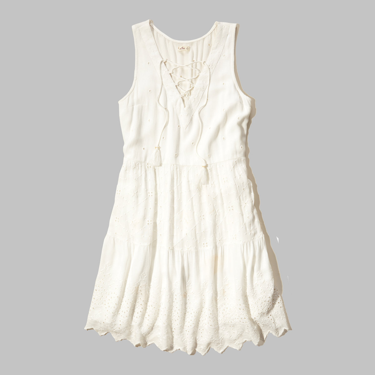 Lace-Up Eyelet Embroidered Dress