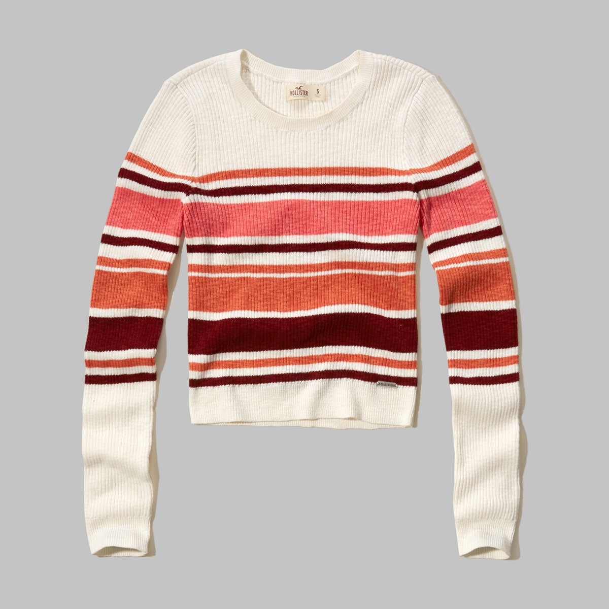 Stripe Cropped Ribbed Sweater