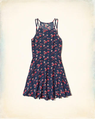 Printed Double-Strap Skater Dress