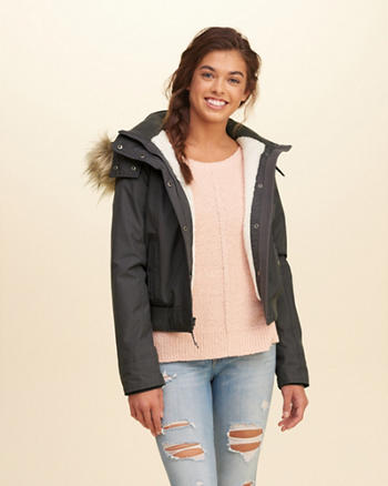 Hollister All-Weather Sherpa Lined Bomber Jacket