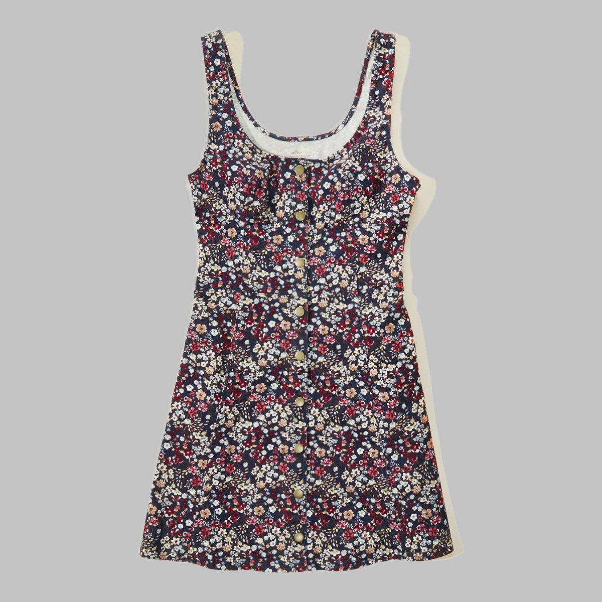 Structured Button Front Denim Dress