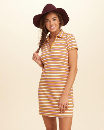 Knit Zip Polo Dress