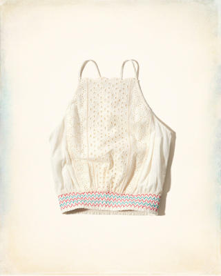 Smocked Hem Eyelet Crop Top