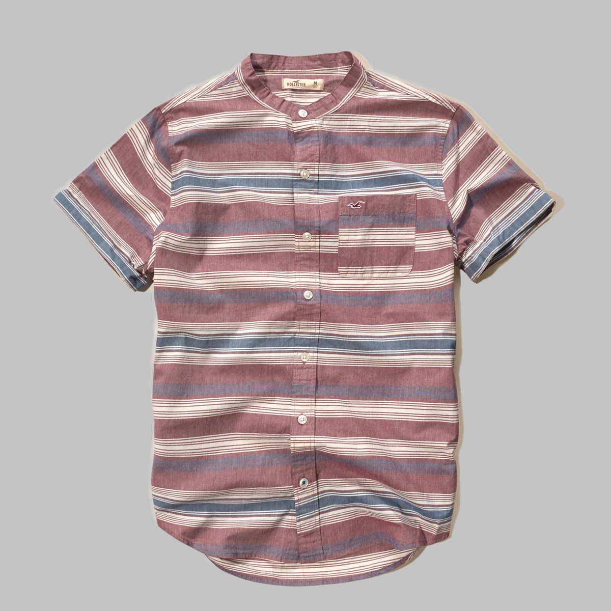 Banded Collar Poplin Shirt