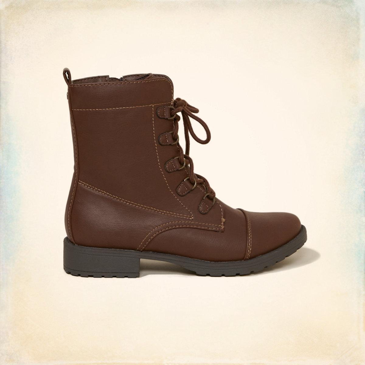 Vegan Leather Combat Boot