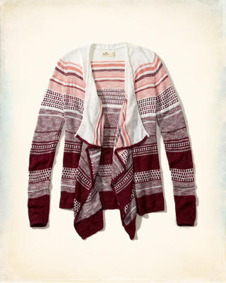 Patterned Non-Closure Blanket Cardigan